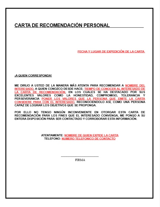 Carta de Recomendacion Personal ~ Descripcion Ejemplos - formato carta referencia familiar