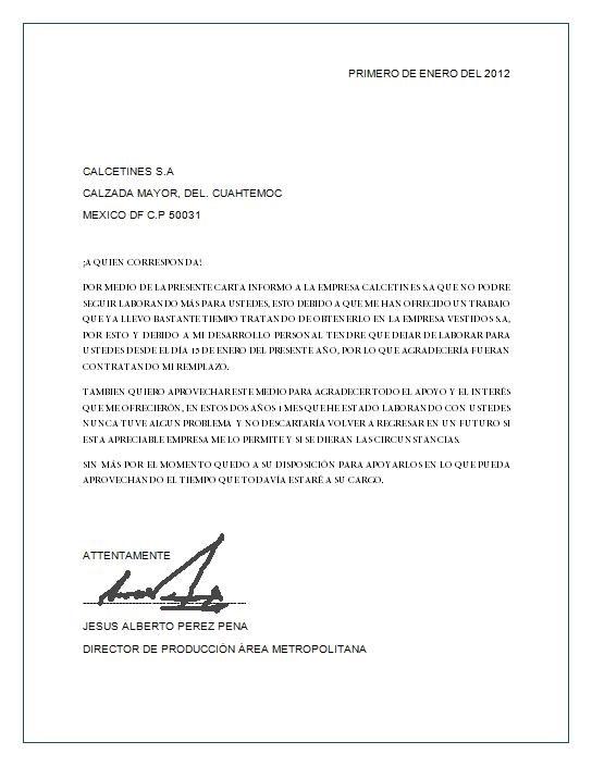 Carta de renuncia ~ Descripción Imagen Ejemplos