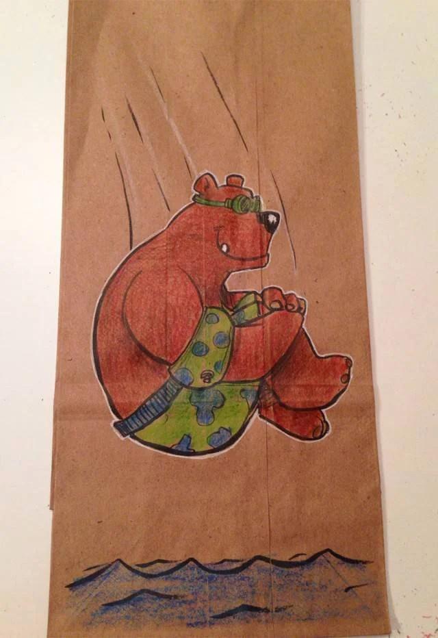 orso su sacchetto