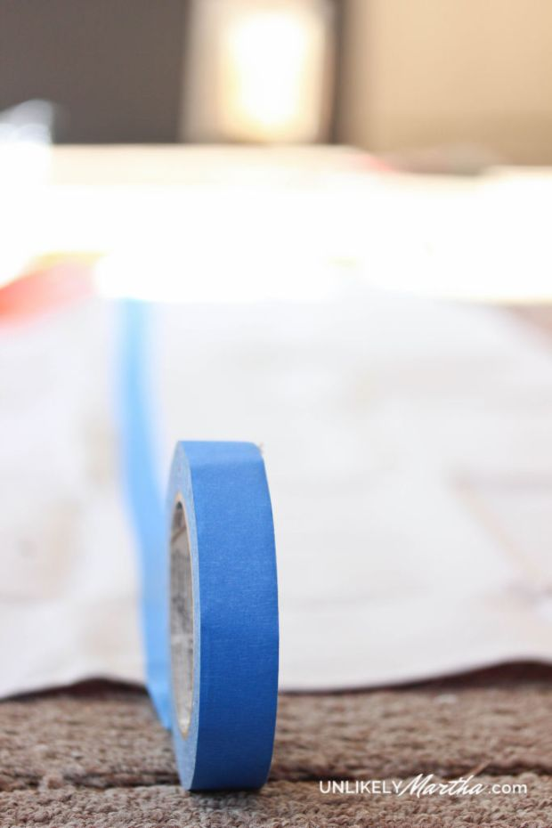 DIY no sew drop cloth curtain