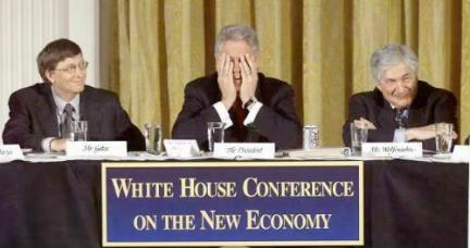 Bill Gates at the White House Conference on the New Economy in 2000, Source: LA Times