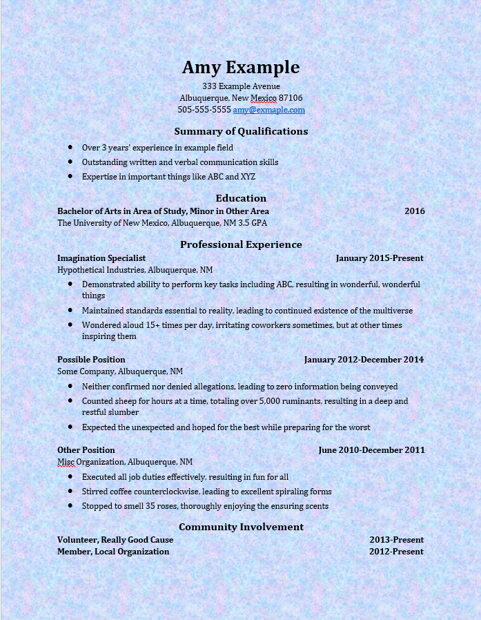 a good resume consists of example of a resume personal profile