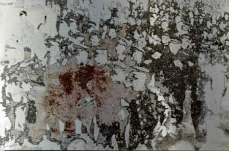 """""""wie bunte fetzen hängen wir im wind"""" digital silkscreen on brushed alu, 52 x 80 cm"""