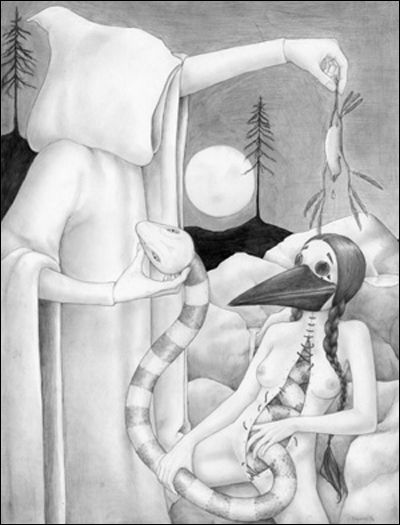 """Hooded Snake Charmer"", pencil on paper"
