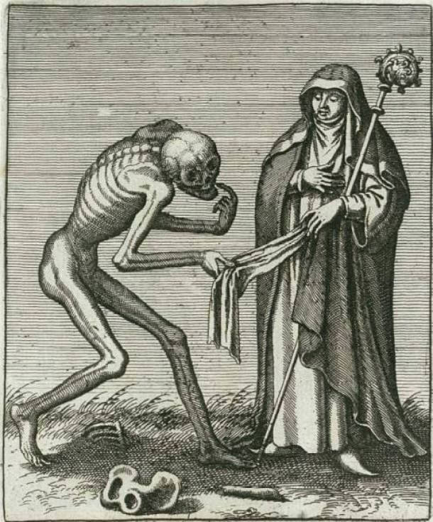 ...but do you have this in black? The abbess from Basel's dance of death by Matthäus Merian.