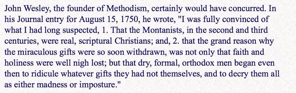 Quote of the Day - John Wesley on Montanism