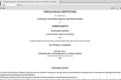 The @Logos Methodist & Wesleyan Library – Theology