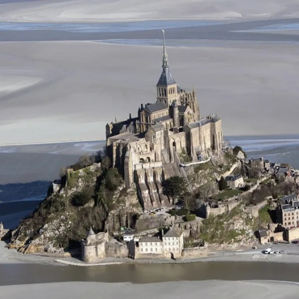An aerial picture taken on February 2, 2012 shows the Mont-Saint-Michel, a tourist attraction and Unesco world heritage site in northwestern France. AFP PHOTO/KENZO TRIBOUILLARD