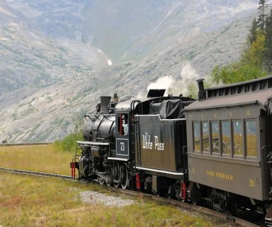 Taken on the White Pass & Yukon Railroad Steam Engine # 73, between Skagway, Alaska and Fraser, British Columbia. Photo by Robert Kramer/Flickr