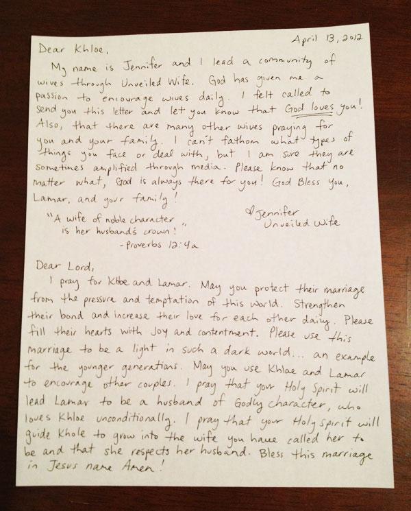 Encouraging Letter To Khloe Kardashian \ Lamar Odom - encouragement letter template