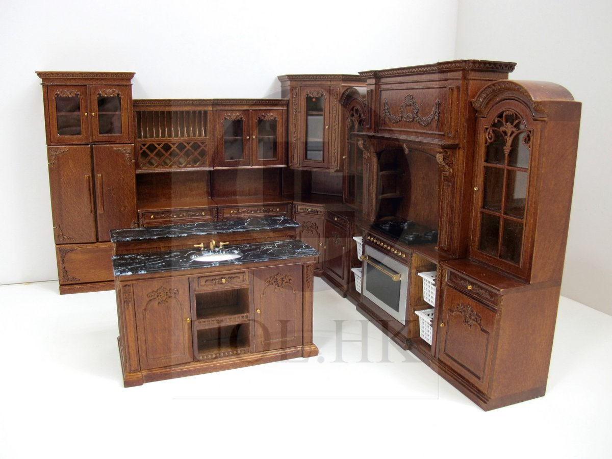 French Provincial Kitchen Island Miniature 1 12 Scale French Provincial Sink Kitchen Island