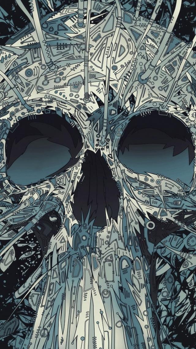 Black Wallpaper Iphone 6 抽象骷髅头 锁屏图片 高清手机壁纸 回车桌面