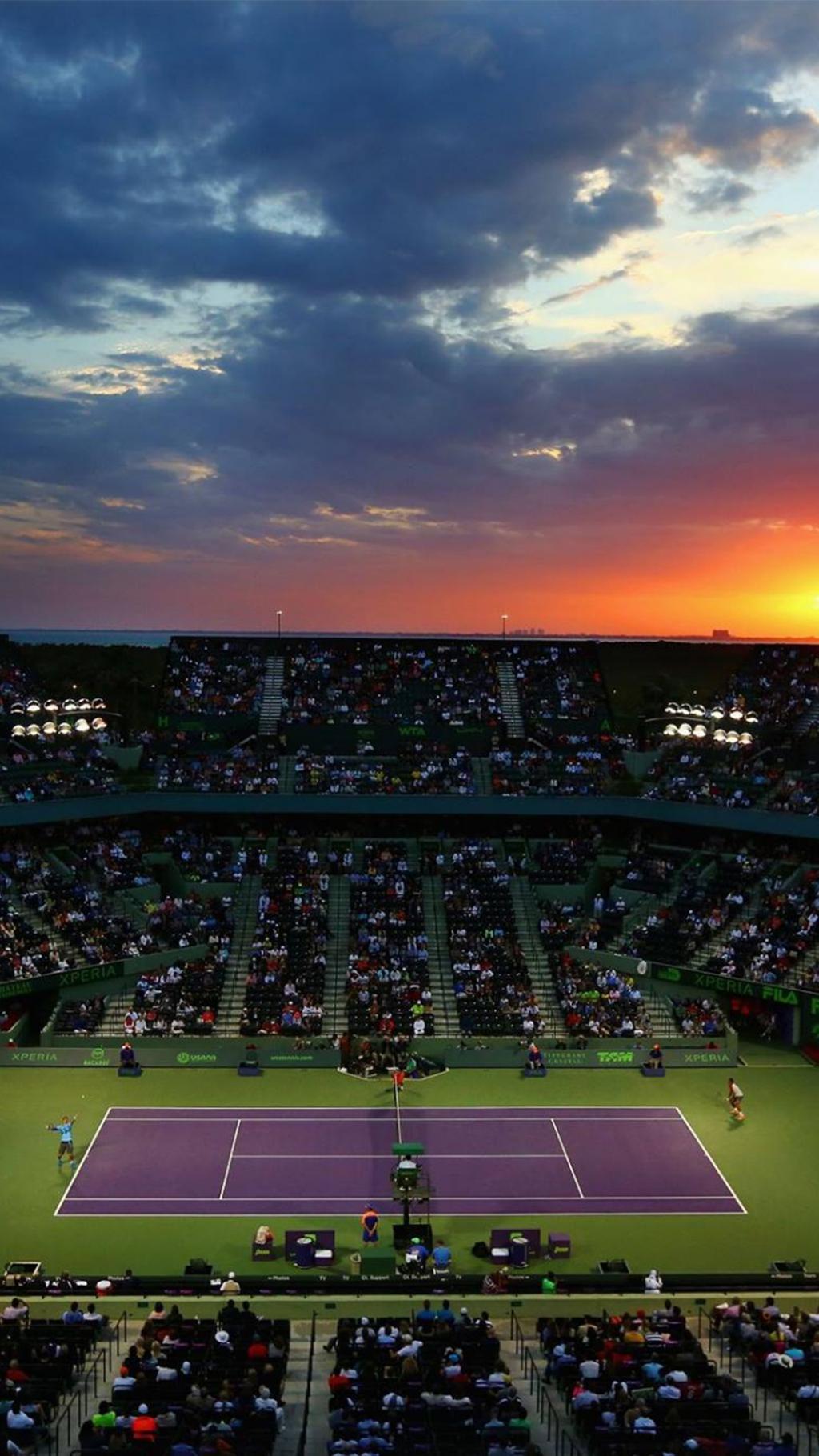 M Iphone Wallpaper 日落迈阿密公开网球场 锁屏图片 高清手机壁纸 体育 回车桌面