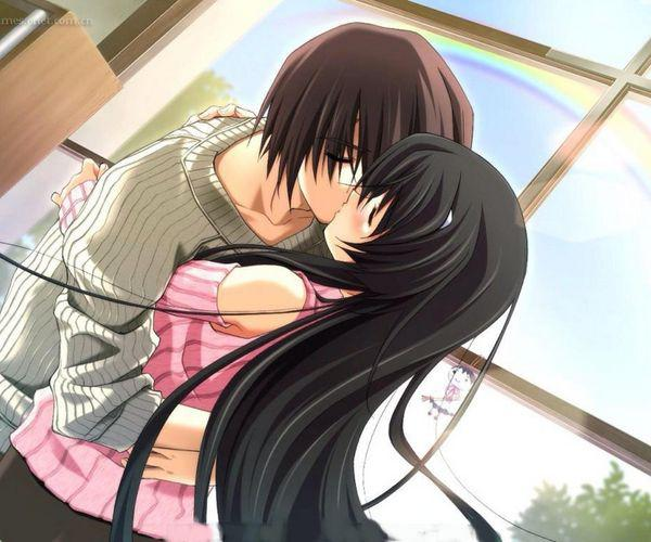 Sweet Cute Couple Hd Wallpaper 动漫情侣亲吻唯美 图片大全 高清 图库 回车桌面