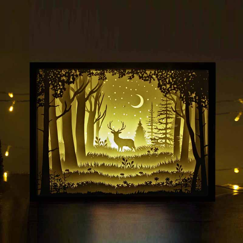 3d Tunnel Wallpaper Light Box The Deer In The Deep Forest At Night