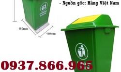 Thùng rác composite nắp bập bênh, thùng rác 90 lít, thùng rác ngoài trời
