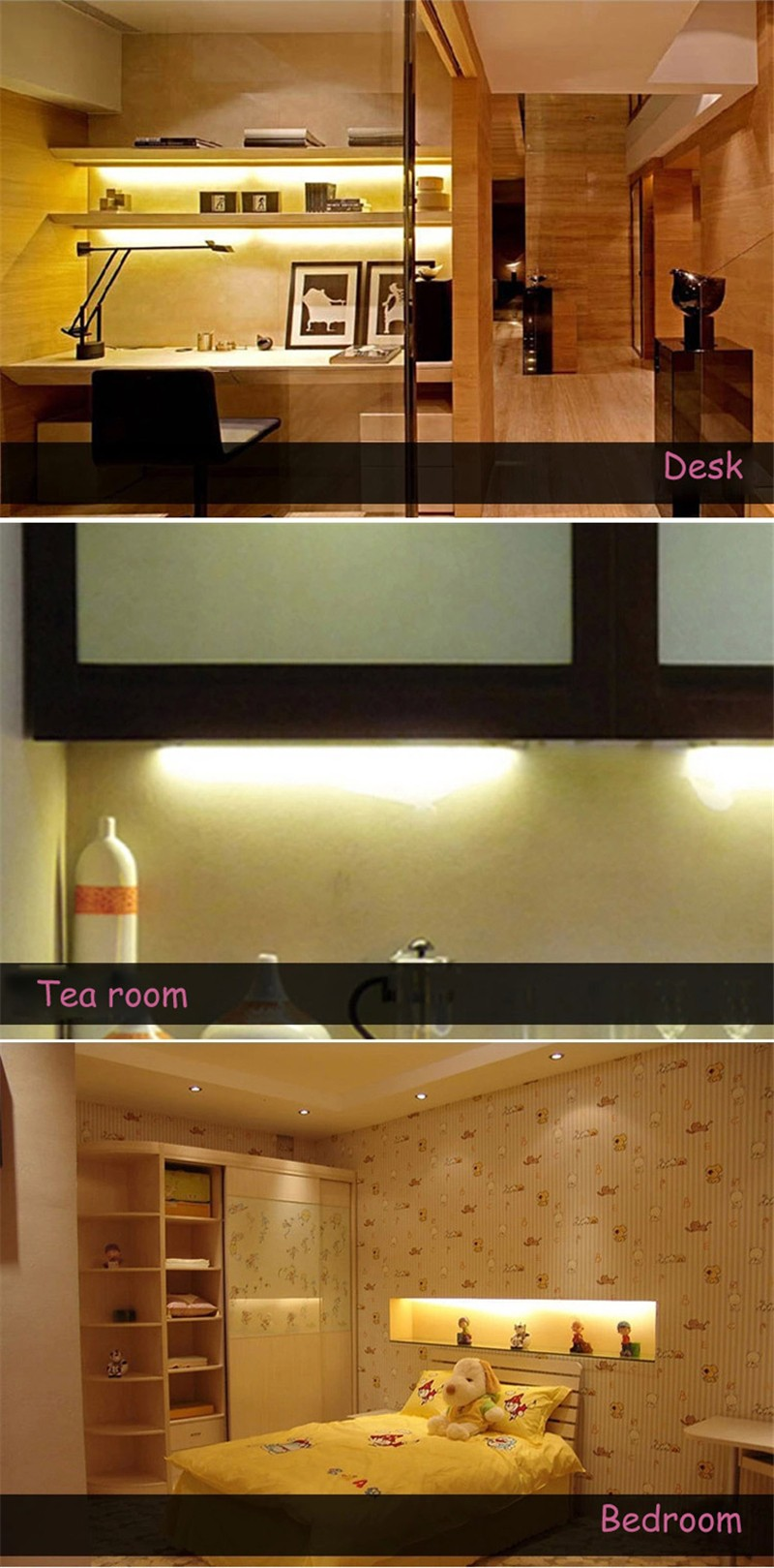 2pcs Dimmable Under Cabinet Strip Lighting7020 7030 9w 50cm Touch Switch Control Kitchen Led Light B Dc12v Rigid Strip Light 2pcs Dc12v Touch Sensor Led Bar Light Dimmable 50cm Ultra Thin Led