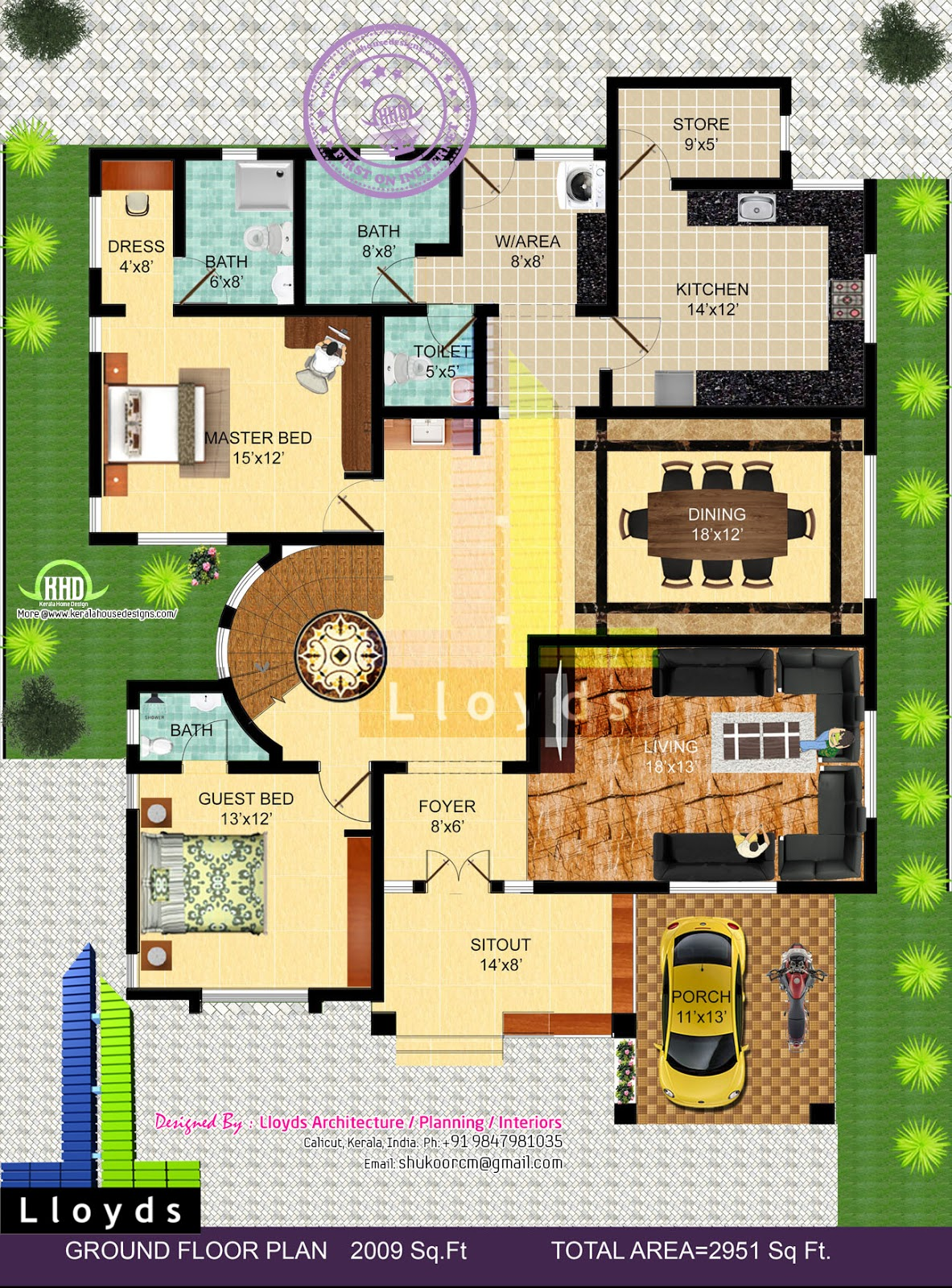 Home Design Floor Plan Bedroom Bungalow Floor Plan And 3d View Kerala Home Design And