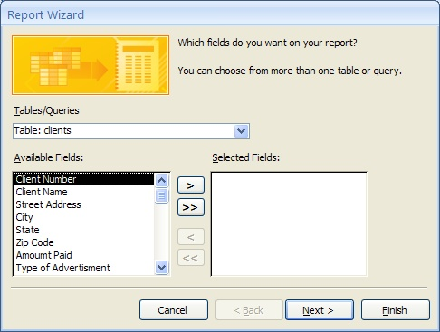 Microsoft Office/Create a basic two table database with reports - how to create a report