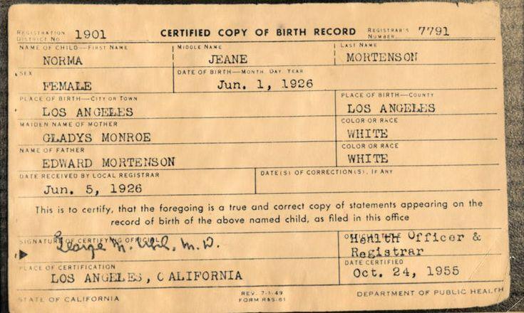 FileMarilyn Monroe Birth Certificate originaljpg - Wikimedia Commons - birth certificate