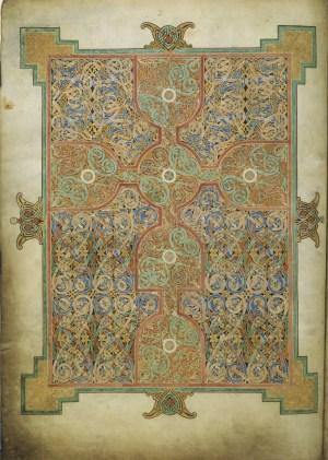 Matthew Cross Page; By Eadfrith (Lindisfarne evangeliarium) [Public domain], via Wikimedia Commons.