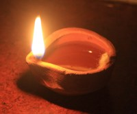 simple contemporary indian clay oil lamp during diwali