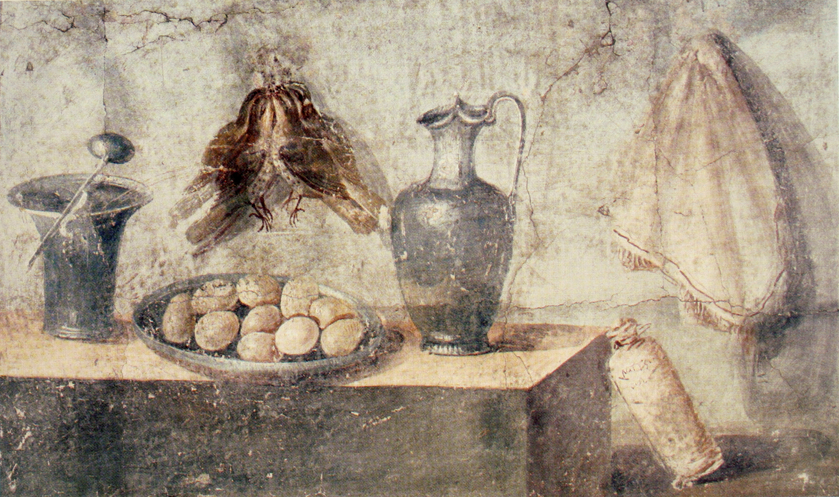 Pittura Contro L' File Still Life With Eggs Birds And Bronze Dishes Pompeii Jpg