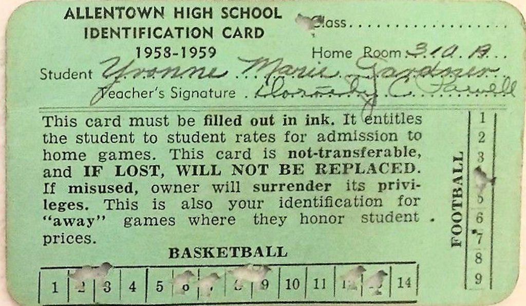File1958 - Allentown High School - Student Identification Card