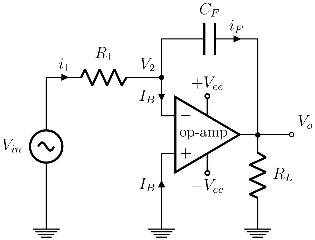 integrator op amp amplifier circuit diagram