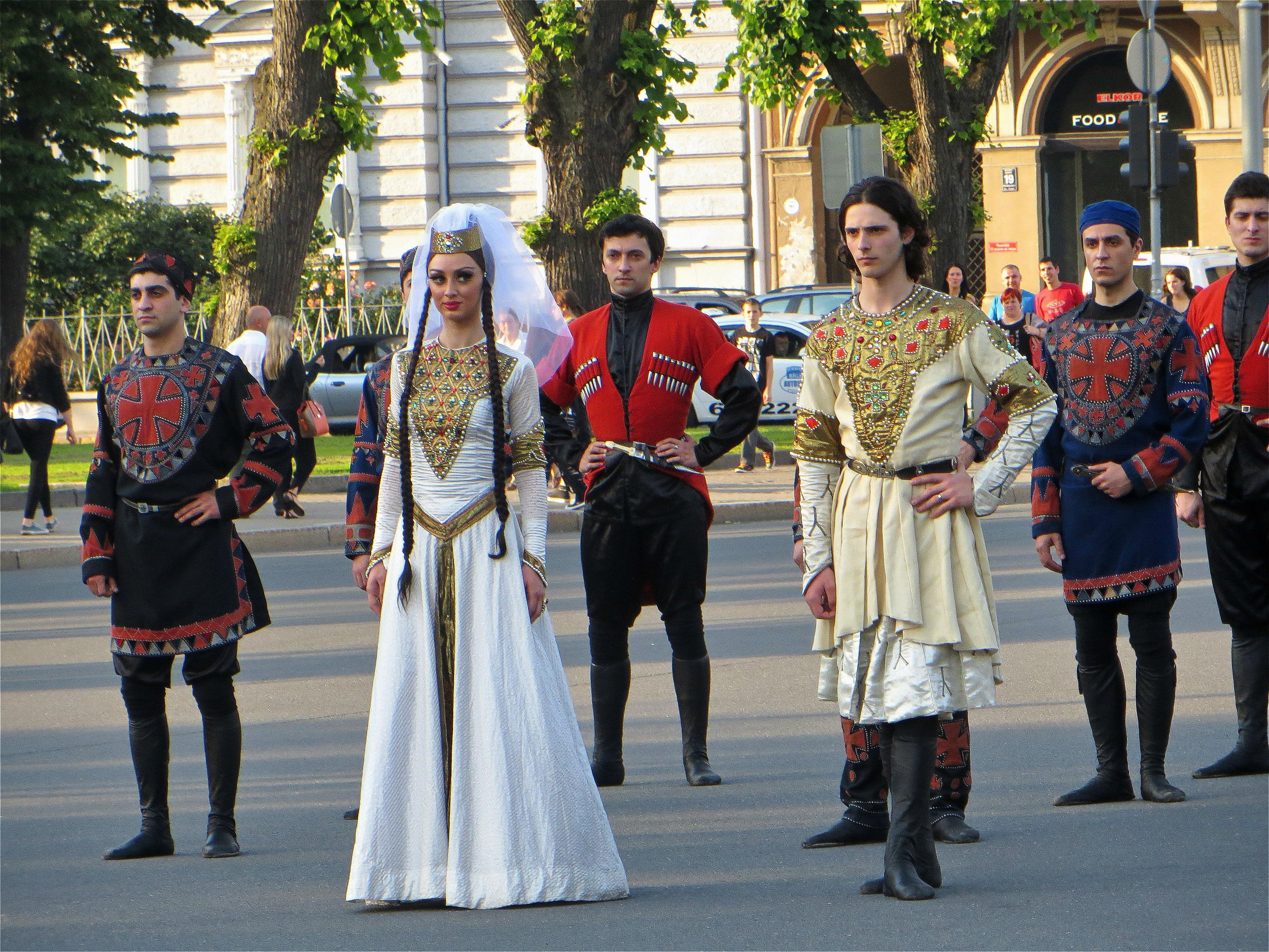 Girl With Wallpaper Dress File Georgians In National Costumes 2014 Jpg Wikimedia