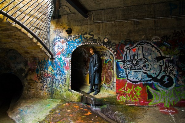 English: An urban explorer under Hobart, Tasma...