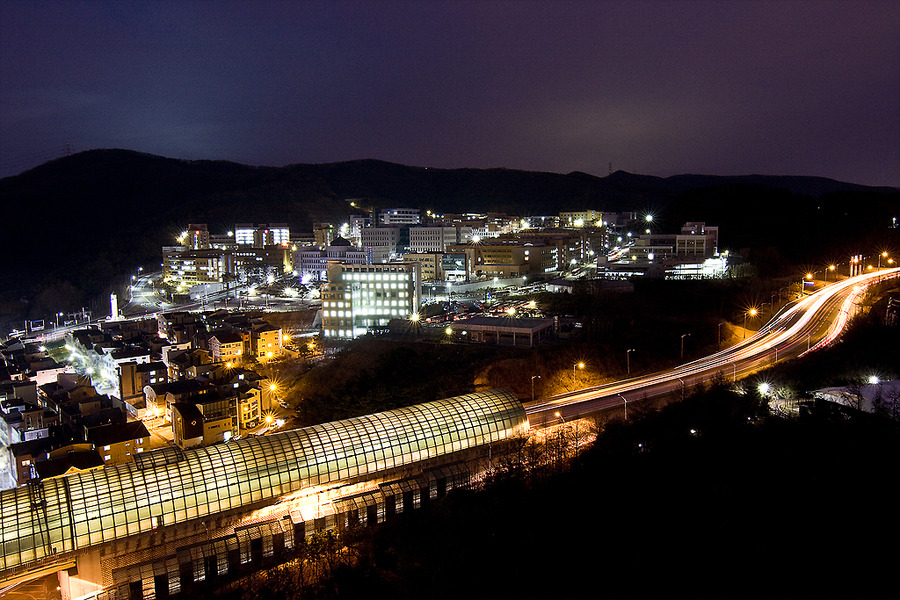 A night view of Dankook University, located in Jukjeon