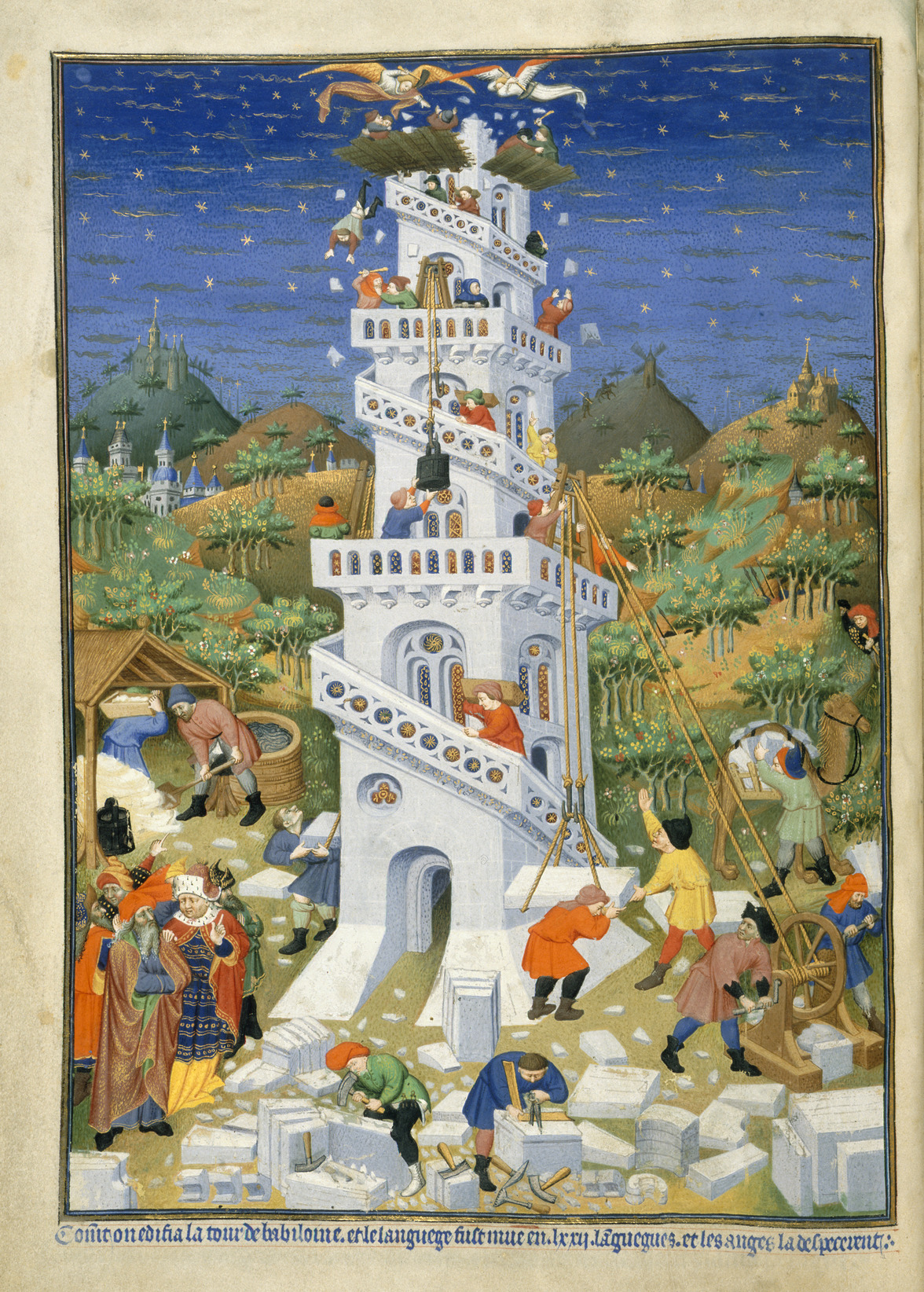 Puzzle Für Kinder File:building Of The Tower Of Babel - Bedford Hours (1414