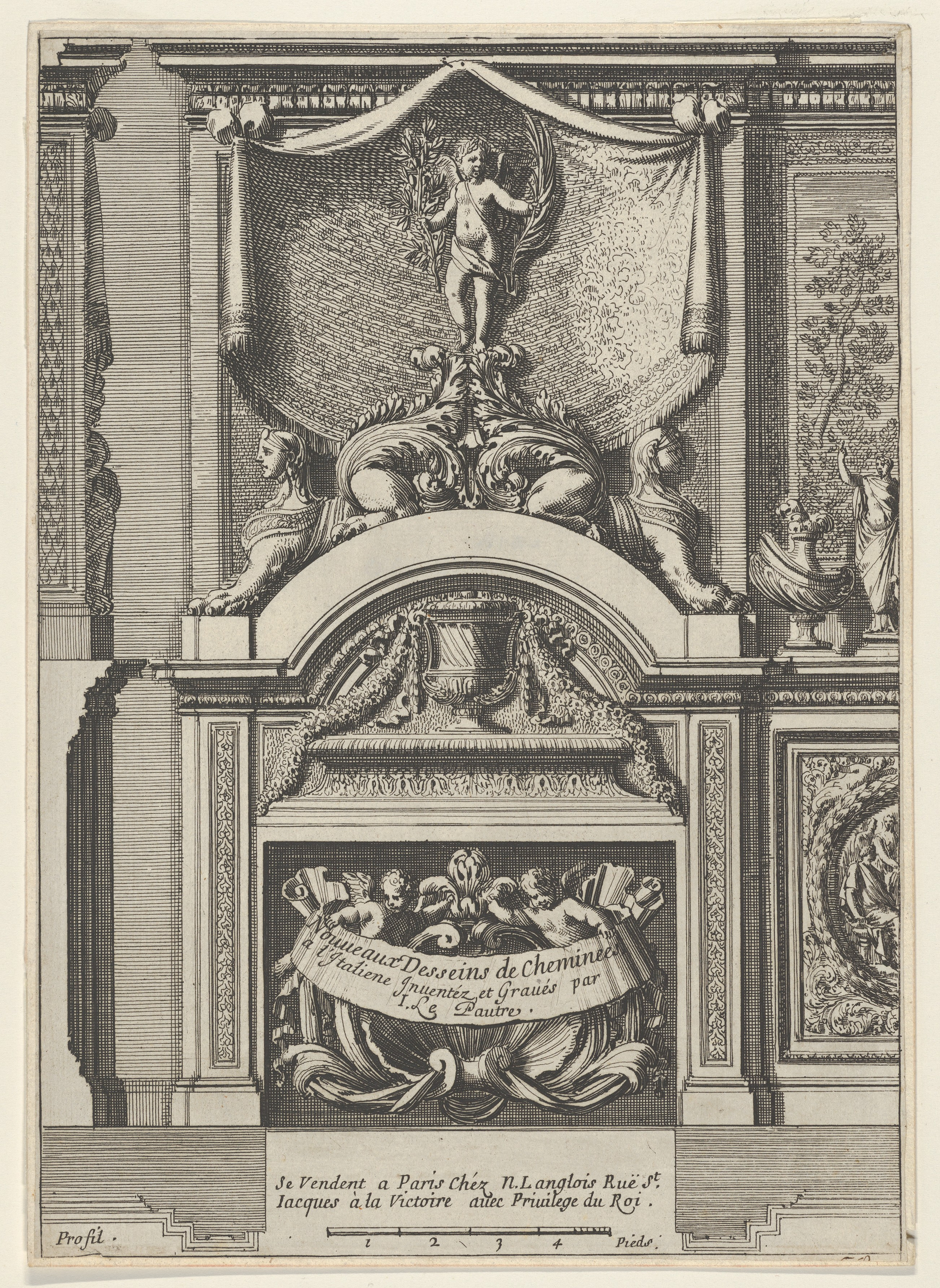 File Design For A Fireplace Surmounted By Sphyxes And Cupid Title Page From Nouveaux Dessins De Cheminées à L Italienne Met Dp834294 Jpg Wikimedia Commons