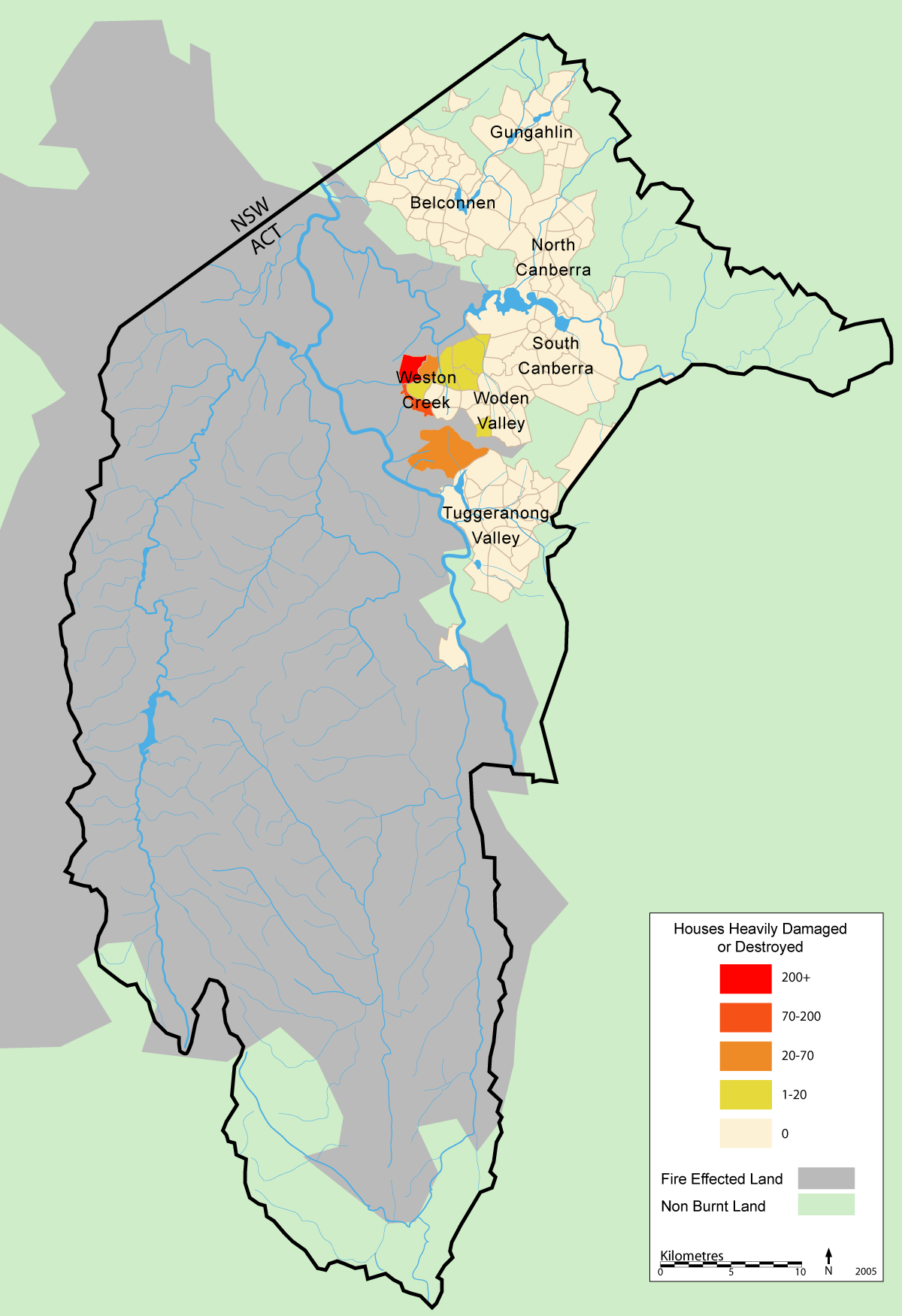 Map Of Canberra File Canberra Bushfire Map Mjc Png Wikimedia Commons