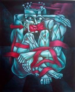 Brainwashing 3, acrílico sobre lienzo, 80 x 100 cms