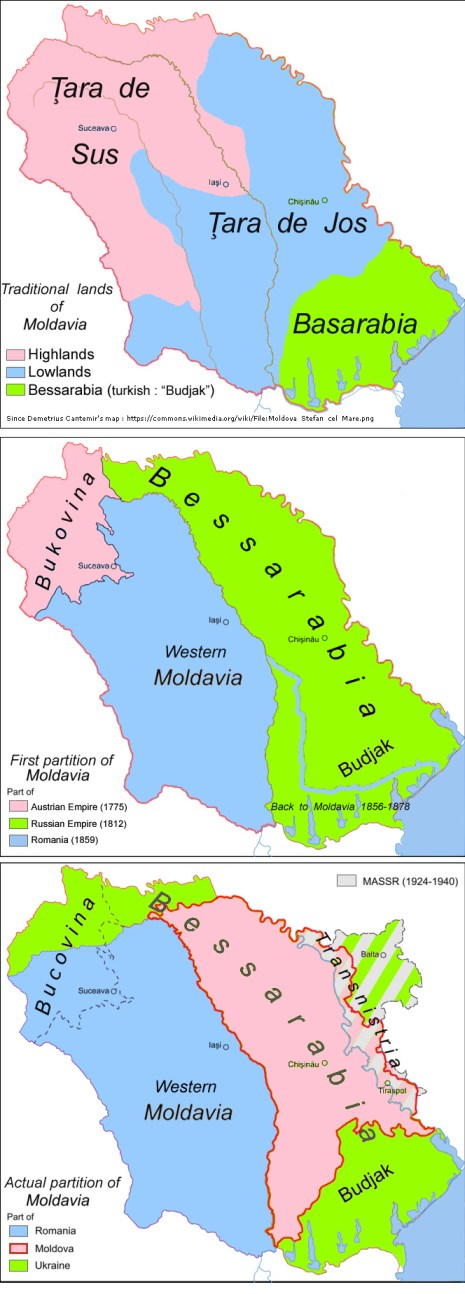 English: Historic map: partitions of Moldavia