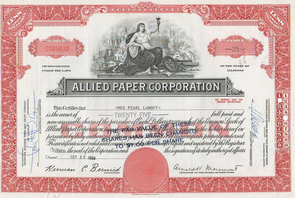 FileAllied Paper Corporation Stock Certificate 1964jpg - Wikipedia
