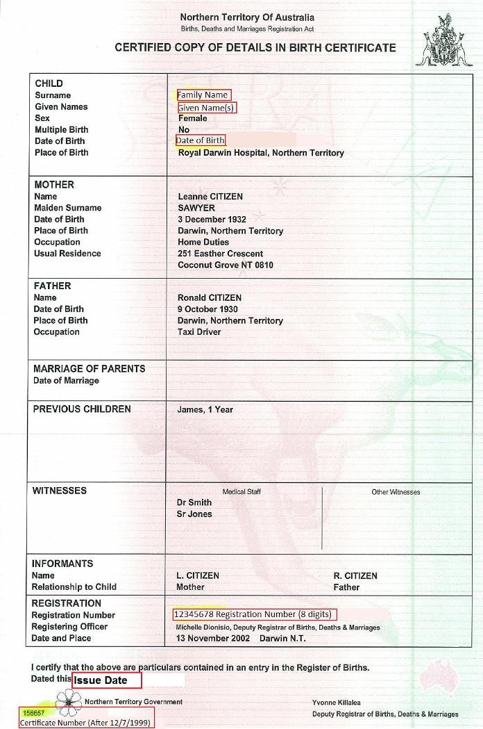 FileBirth certificate - Northern Territory (Australia)jpg - birth certificate