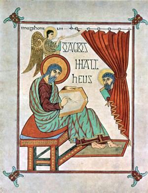 Portrait of Matthew in the Lindisfarne Gospels; By Meister des Book of Lindisfarne [Public domain], via Wikimedia Commons.