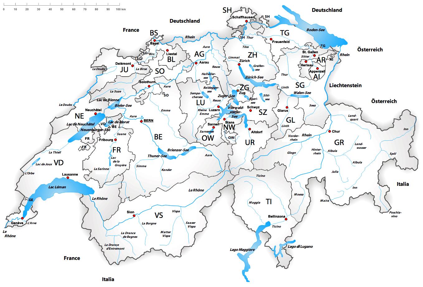 Routenplaner Schweiz Deutschland Karte - Deutschland Und Schweiz Karte