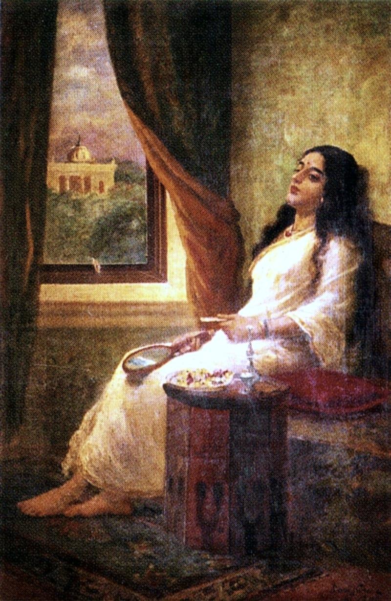 Hd Wallpapers Girl Indian File Raja Ravi Varma In Contemplation Jpg Wikimedia Commons