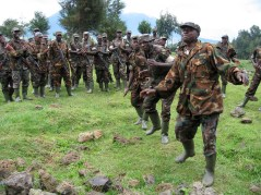Rwanda soilders singing anti-AIDS songs. All soilders are counseled and tested for HIV.