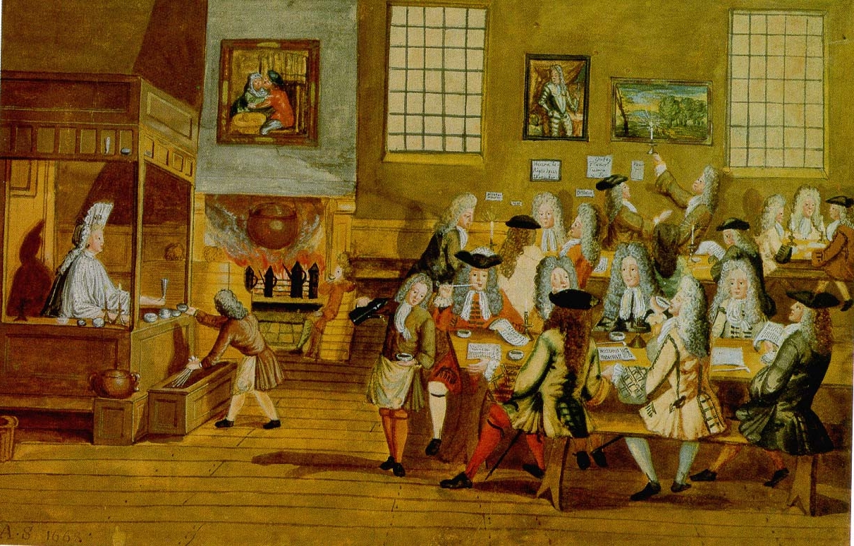 Coffee Art History File Interior Of A London Coffee House 17th Century Jpg