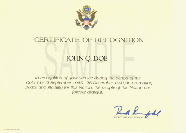 Cold War Recognition Certificate - Wikipedia - Examples Of Certificates Of Recognition
