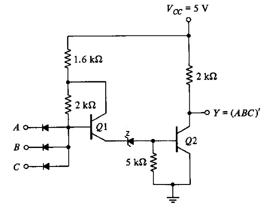 circuit diagram of two input nand gate