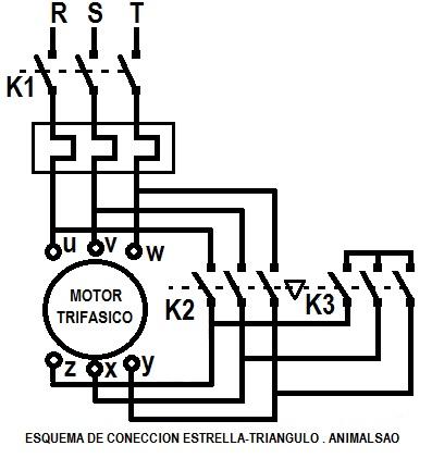 Conexión de un motor trifásico en estrella-triángulo [ editar ]