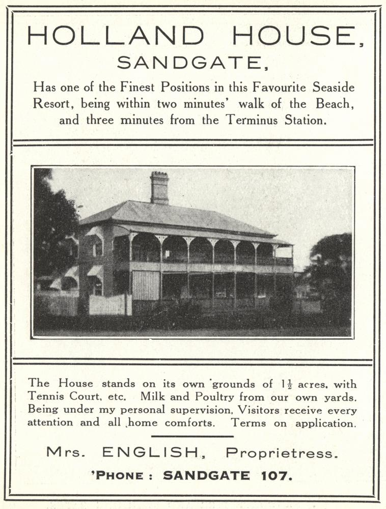 FileStateLibQld 1 258529 Advertisement for Holland House boarding - House Advertisements