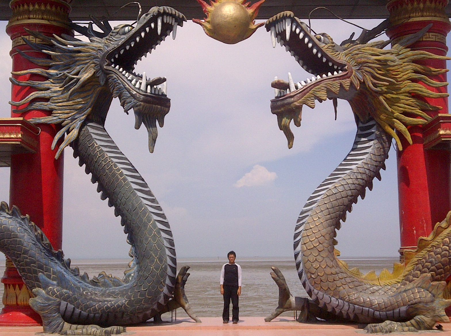Giant Dragon Statue File A Visitor Of Sanggar Agung Temple Toke A Picture Under The