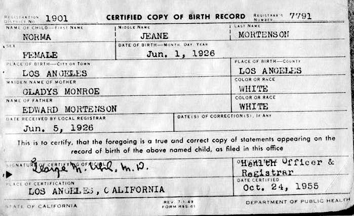 FileMarilyn Monroe Birth Certificatejpg - Wikimedia Commons - birth certificate